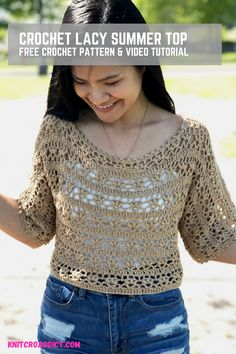 This crochet summer top pattern is very fun and easy to make. Includes US women's sizes XS-XXL with step by step video tutorial, photo tutorial and written pattern. Crochet Summer Tops, Crochet Halter Tops, Crochet Tank, Crochet Cardigan, Free Crochet, Knit Crochet, Crochet Owls, Crochet Animals, Easy Crochet