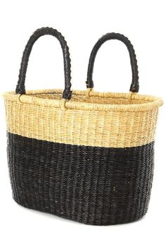 """• Handwoven from elephant grass• 18.5"""" L x 11""""W• Crafted in Ghana These handcrafted baskets may vary slightly as compared to the the photos, as each set is unique. Talented weavers in Ghana handcraft this stylish and durable shopper from thick stalks of elephant grass. A perfect accessory from home to market to beach and beyond, the shopper has soft leather handles for added comfort. Swahili African Modern showcases the brilliance of modern African design through an exquisite collection of… Leather Handle, Soft Leather, Straw Tote, Purple Teal, African Design, Card Wallet, Ghana, My Bags, Sale Items"""