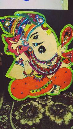 Handmade Craft-- beautiful painting and crafting Combination to make lord ganesha