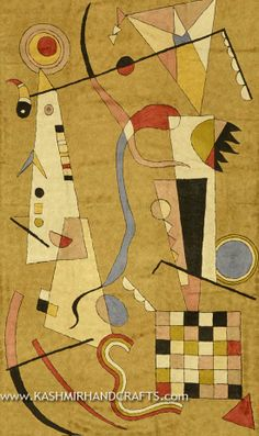 KANDINSKY Decorative Abstract Rug / Tapestry. This glorious modern abstract Rug/tapestry is hand embroidered using Chain stitch needlepoint embroidery and design inspired by the works of modern artist, Wassily Kandinsky. Cosmic colors like blue, lavender and silver complement earthier tones of terra cotta, harvest green and amber to recreate a design based on the work of influential Russian artist, Wassily Kandinsky.