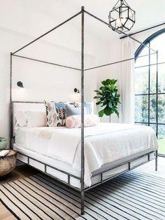 Traditional bedroom design with lantern pendant light - how to choose bedroom lighting on Thou Swell @thouswellblog