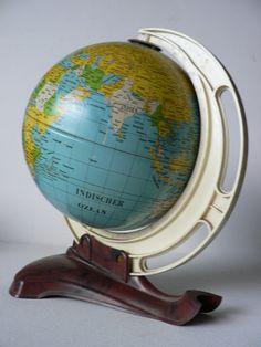 vintage 1950s MS Germany tin GLOBE / art deco Novelty Globe/ toy globe. $85.00, via Etsy.