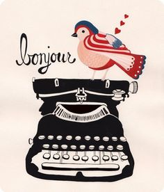 bonjour by Rebekka Seale of Dear Friend, Dear Friend Zentangle, Great Christmas Presents, Vintage Typewriters, Cute Illustration, Pretty Pictures, Vintage Pictures, France, Illustrations Posters, Collages