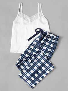 Shop for Lace Embellished Cami & Plaid Pants Pajama Set by Shein at ShopStyle. Pajama Outfits, Lazy Outfits, Woman Outfits, Casual Outfits, Cute Outfits, Women's Casual, Pyjamas, Plaid Pajamas, Cute Pajamas