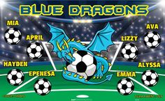 Dragons-Blue-45505  digitally printed vinyl soccer sports team banner. Made in the USA and shipped fast by BannersUSA. www.bannersusa.com