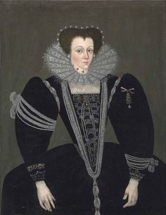 c. 1590 Artist: Unknown  English: Portrait of a lady, three-quarter-length, in a black dress embellished with jewels and pearls, a lace ruff and a pearl headdress by English School, c. 1590. Medium oil on canvas  Dimensions: 45.625 × 35.625 in (115.9 × 90.5 cm)  Object history: Francis Leybourne Popham, of Littlecote, Wiltshire  Source: Christie's,