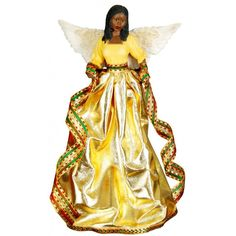 Tiffany (Gold): African American Christmas Tree Topper ** Special offer just for you. Snowman Tree Topper, Christmas Tree Star Topper, Tree Topper Bow, Christmas Tree Tops, Beautiful Christmas Trees, Tree Toppers, Christmas Angels, Christmas Decorations, Christmas Ornaments
