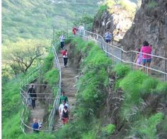 The hike up Diamond-Head-starts in the center of the crater and works its way up the highest point of the rim.