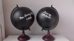 chalkboard painted globes for personalized wedding guest book