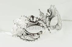 Venetian Masquerade Masks | Laser Cut Venetian Mask Silver Metal Masquerade Costume Ball Crystal ...