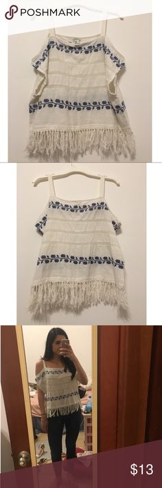 Forever 21 shirt Forever 21 white and blue open-shoulder embroidered shirt with tassels at the bottom. Material is 96% cotton and 4% polyester. Size S Forever 21 Tops Blouses