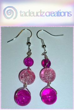Pale Pink & Cerise Crackle beaded silver by TadeudzCreations, £3.50