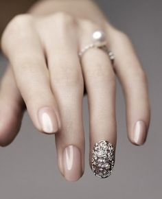 I've followed the link and searched otherwise, but can't find any actual information on the photo. I think the pearl nail jewelry is interesting (and the idea I found on one of the sites with the picture of using it to hide a broken nail), but I also really like the nude nail polish, and wish I could find out what it is.