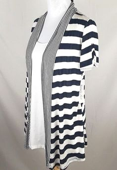 f6cdfe3f73379 ROBIN'S NEST Maternity Womens XL Blue White Striped Open Front Built In  Tank Top #fashion