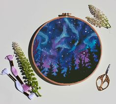 Northern Lights cross stitch galaxy trees camping nature modern landscape abstact forest wild – Cros Source by etsy Learn Embroidery, Embroidery Art, Cross Stitch Embroidery, Embroidery Patterns, Simple Embroidery, Cross Stitch Charts, Counted Cross Stitch Patterns, Cross Stitch Designs, Modern Cross Stitch Patterns