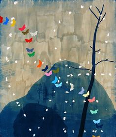 """asymmetrical balance, emphasis on the butterflies due to the bright colours, movement because eyes follow butterflies then the shapes spelling out """"love"""""""