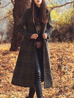 #AdoreWe #StyleWe Coats - Aporia. AS Wool Blend Checkered/Plaid Vintage Long Sleeve Coat - AdoreWe.net