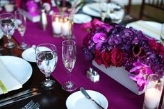 romantic purple red fuschia wedding flower centerpieces  - flowers would be good in bouquet too.  @Candace Renee Keefe