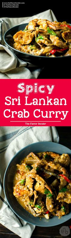 Spicy Sri Lankan Crab Curry - Made with fresh blue swimmers crabs, and an aromatic and flavorful Sri Lankan curry base. It's a delicious and comforting seafood curry that's authentically Sri Lankan. via @theflavorbender
