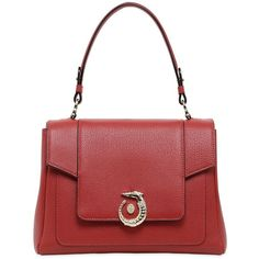 Trussardi Women Lovy Grained Leather Top Handle Bag ($645) ❤ liked on Polyvore featuring bags, handbags, red, red bag, red handbags, trussardi, top handle leather handbags and red purse
