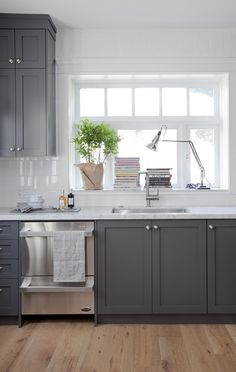 Grey cabinets black appliances silver hardware full for Kitchen ideas vancouver