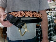 Leather Belt /  Mens / Women's / Western / Hand Carved and Tooled /  Hand Crafted / Black / Leather Belt