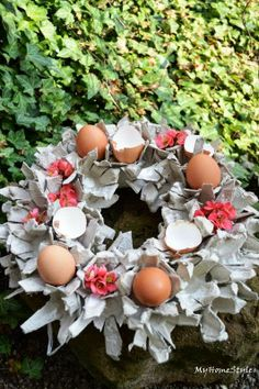 My Home Style diy from eggs holder (package) http://homestylecz.blogspot.cz/2014/04/venec-z-obalu-od-vajec.html