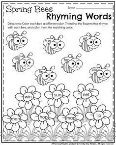 FREE Spring Kindergarten Worksheet - Spring Bees Rhyming Words. So cute!