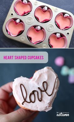 How to make heart shaped cupcakes for Valentine's Day! Fun, easy Valentine… How to make heart shaped cupcakes for Valentine's Day! Fun, easy Valentine's day treat, no special pan needed. Valentine Desserts, Valentines Baking, Valentine Day Cupcakes, Valentines Day Treats, Holiday Desserts, Holiday Treats, Kids Valentines, Pink Desserts, Valentines Day Quotes For Him