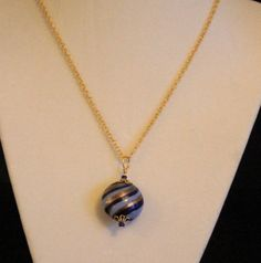 Glass Pendant in stripes of Blues and Gold by SunsetJewelsCo
