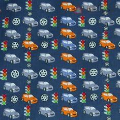 Prací kord tmavě modrý s autíčky | Manžestry slabé - Prací kordy vzor | Důmlátek.cz - látky a metráž