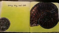 Another set of pages from my handbound, handstitched book. #art #artist #Detroitartist #mixedmedia #color #snail shell #book #bookart