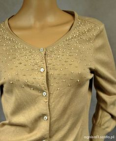 H&M sweter kardigan perełki koraliki 36 S   Cena: 18,00 zł  #zapinanynaguziki #nudeswetryhm #modnysweterhm