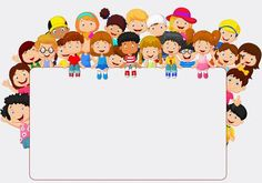 Crowd children cartoon with blank sign. Illustration of Crowd children cartoon w , Borders For Paper, Borders And Frames, Borders Free, School Border, Powerpoint Background Design, Blank Sign, Blank Banner, School Frame, Kids Background