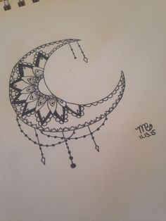 Crescent moon with mandala. Done by Mati Bickhard. Do not reproduce.