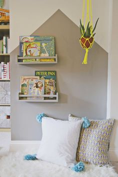 DIY reading nook with Ikea spice racks