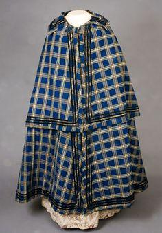 Lady's Blue Plaid Winter Cloak, 1840-1860