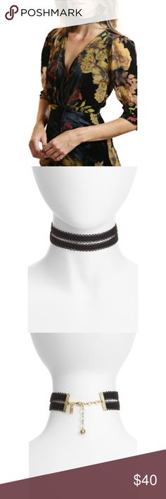 "Vanessa Mooney?? The Peggy Choker Draw attention to your collarbone in this retro-chic choker made with looped and lacy fabric.  - 11"" length; 2 1/2"" extender; 1"" width - Lobster clasp closure - Polyester/goldtone plate - Made in the USA Vanessa Mooney Jewelry Necklaces"