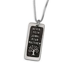 Etched Rectangle Personalized Family Tree Necklace