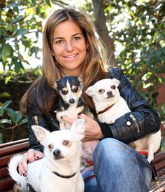 Tennis great Arantxa Sanchez-Vicario - A cute shot of Arantxa with some of her four-legged friends!