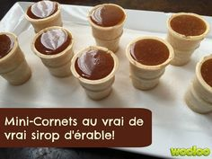 Une recette de mini-cornets à l'érable avec du vrai sirop d'érable! Easy Snacks, Easy Desserts, Fall Recipes, Sweet Recipes, Easy Cooking, Cooking Recipes, Maple Syrup Recipes, Homemade Candies, Something Sweet