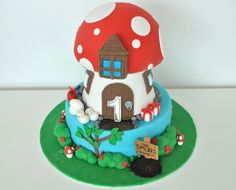 The smurfs cake - Chocolate cake with fondant