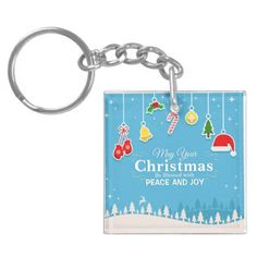 Blessed with Peace & Joy Christmas | Keychain - christmas keychains family merry xmas personalize gift idea