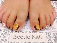 Nail Art - Beetle Nail : 八日市arte べっ甲フットネイル♡