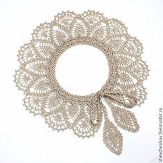 Crochet Collar Pattern, Crochet Lace Collar, Crochet Baby Dress Pattern, Crochet Patterns, Neck Accessories, Crochet Accessories, Bead Crochet Rope, Knit Crochet, Irish Crochet