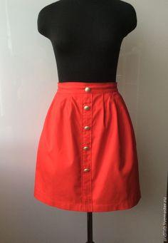 Купить Юбка - ярко-красный, юбка, юбка короткая, юбка со складками, красный, на заказ