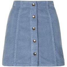 TopShop Cord Popper a-Line Mini Skirt (695 MXN) ❤ liked on Polyvore featuring skirts, mini skirts, bottoms, saias, topshop, pale blue, button front skirt, blue mini skirt, button front mini skirt and blue cotton skirt
