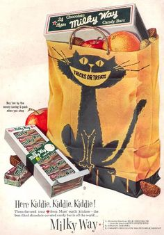 """Milky Way candy bars VINTAGE ADVERTISEMENTS FOR HALLOWEEN"""" I love the illustration and the graphic of retro advertisement, always make me smile! So i selected for you 40 vintage ads for Halloween. Hope you will enjoy! Halloween Retro, Vintage Halloween Images, Halloween Cat, Holidays Halloween, Happy Halloween, Halloween Stuff, Halloween Rules, Halloween Clothes, Halloween Inspo"""