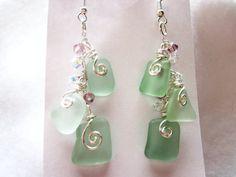 Sea glass....come be mine!  Sea Glass Earrings Sea Foam Green/blue Sea by NauticalSeaGlass, $25.00