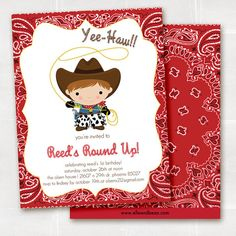 cowboy round up birthday party invitation. western theme